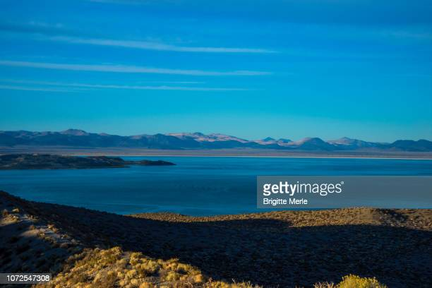 United States, California, Mono Lake from Panum Crater at sunset