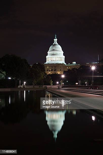united states capitol at night, washington dc, usa - reflection pool stock pictures, royalty-free photos & images