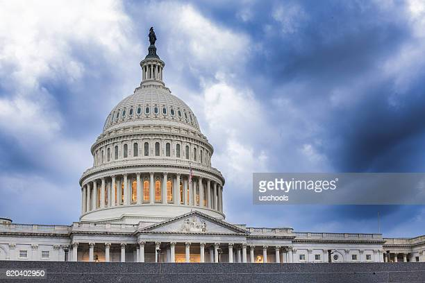 united states capitol building: calm before the storm - capital cities stock pictures, royalty-free photos & images