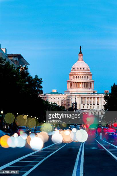 United States Capitol Building Night View with Car Lights