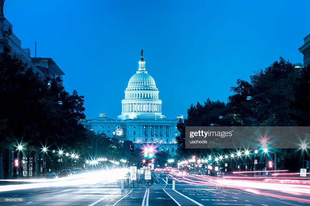 United States Capitol Building Night View with Car Lights Trails : Stock Photo