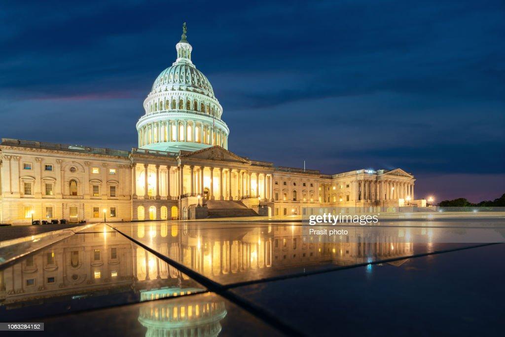 United States Capitol, Government in Washington, D.C., United States of America. Illuminated at night : ストックフォト