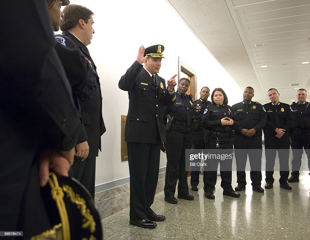 United States Capitol Police Chief Phillip Morse, Sr., gives promotees instructions on their promotion ceremony before the start of the 16th Annual Awards Ceremony for the U.S. Capitol Police on Thursday evening, March 27, 2008, in the Dirksen Senate Office Building.