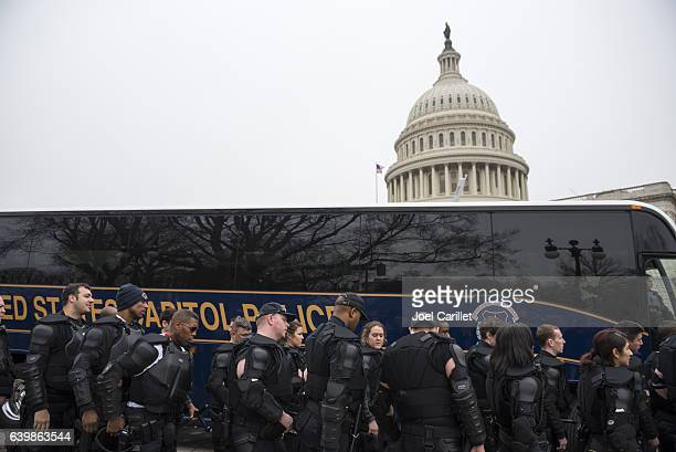 United States Capitol Police officers wearing riot gear