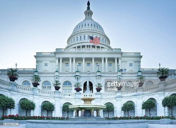 united states capitol west facade with fountain and flowers - senate stock pictures, royalty-free photos & images