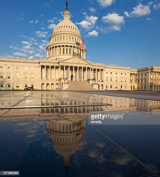 United States Capitol with Reflection in Visitor Center Skylight Pools
