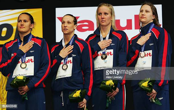 United States celebrate winning the gold medal in the Women's 4 x 100m Medley Relay Final during the ninth FINA World Swimming Championships at the...