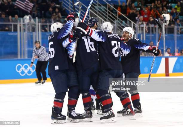 United States celebrates after Ryan Donato of the United States scores for the second time against Slovakia during the Men's Ice Hockey Preliminary...