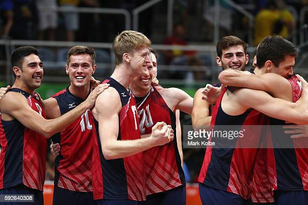 United States celebrates after winning the Men's Bronze Medal Match between United States and Russia on Day 16 of the Rio 2016 Olympic Games at...