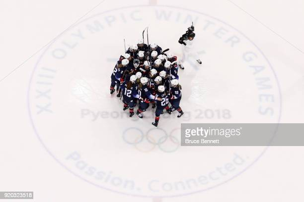 United States celebrates their 50 win over Finland during the Ice Hockey Women Playoffs Semifinals on day 10 of the PyeongChang 2018 Winter Olympic...