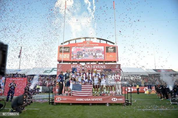 United States celebrates with their trophy after defeating Argentina in the Cup Final during the HSBC USA Sevens at Sam Boyd Stadium on March 4 2018...