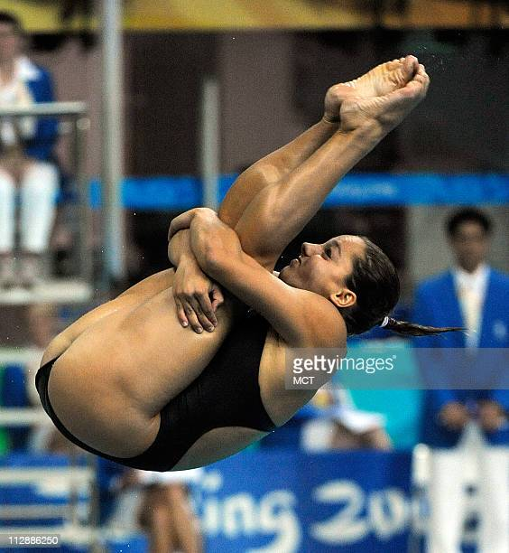 United States Christina Loukas competes in the Women's 3Meter Diving competition Sunday August 17 2008 in the Games of the the XXIX Olympiad in...