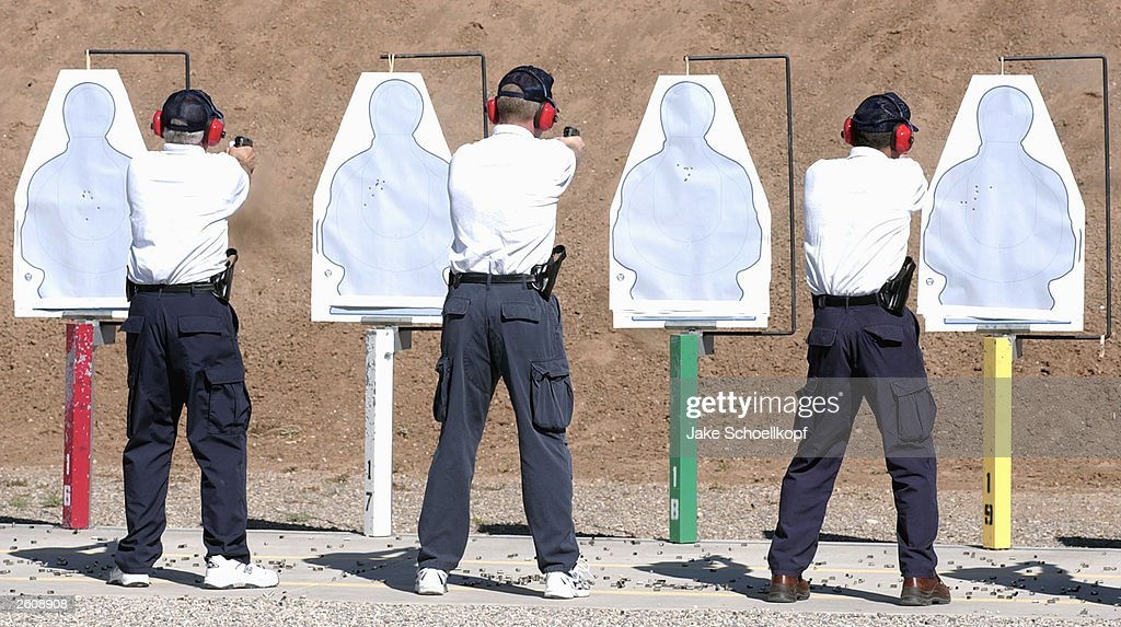 United States commercial airline pilots practice firing their  40