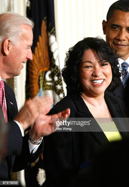 United States Court of Appeals for the Second Circuit Judge Sonia Sotomayor of New York watches as President Barack Obama and Vice President Joe...