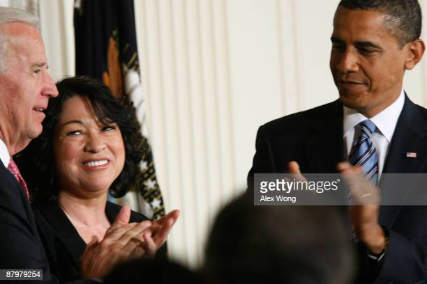 United States Court of Appeals for the Second Circuit Judge Sonia Sotomayor watches as President Barack Obama and Vice President Joe Biden applaud...