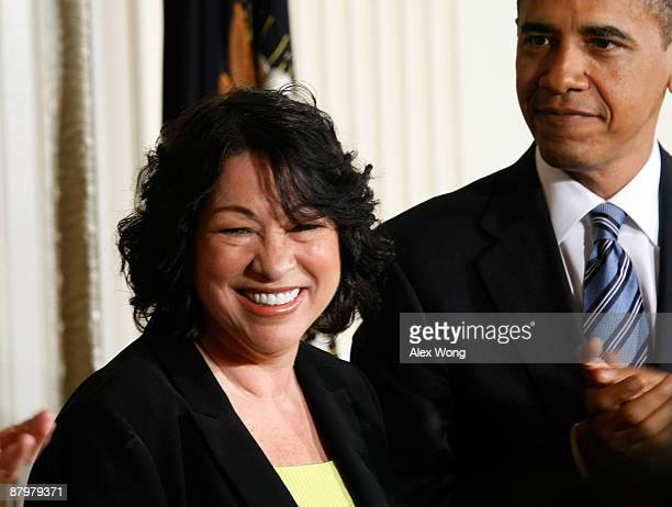 United States Court of Appeals for the Second Circuit Judge Sonia Sotomayor watches as President Barack Obama applauds after announcing her as his...