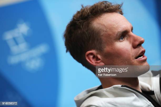 United States Cross Country athlete Simeon Hamilton attends a press conference at the Main Press Centre during previews ahead of the PyeongChang 2018...
