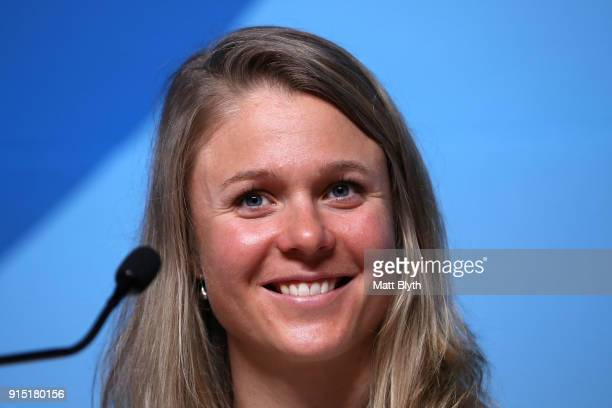 United States CrossCountry Skier Sadie Bjornsen attends a press conference at the Main Press Centre during previews ahead of the PyeongChang 2018...