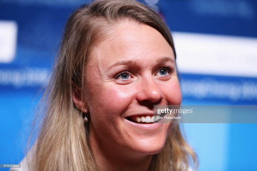United States Cross-Country Skier Sadie Bjornsen attends a press conference at the Main Press Centre during previews ahead of the PyeongChang 2018 Winter Olympic Games on February 7, 2018 in Pyeongchang-gun, South Korea.