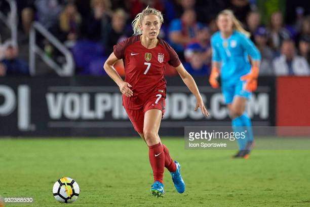 United States defender Abby Dahlkemper dribbles the ball during the SheBelieves Cup match between USA and England on March 07 at Orlando City Stadium...
