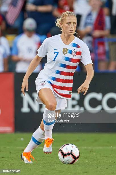 United States defender Abby Dahlkemper dribbles the ball in game action during a Tournament of Nations match between the United States and Japan on...
