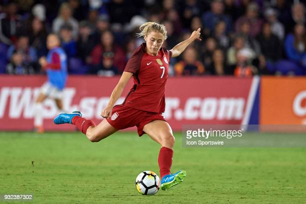 United States defender Abby Dahlkemper kicks the ball during the SheBelieves Cup match between USA and England on March 07 at Orlando City Stadium in...