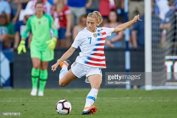 United States defender Abby Dahlkemper kicks the ball in game action during a Tournament of Nations match between the United States and Japan on July...