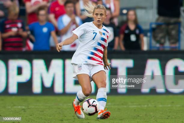 United States Defender Abby Dahlkemper passes the ball during the Tournament of Nations match between the United States and Japan on Thursday July 26...