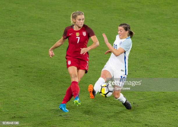 United States defender Abby Dahlkemper releases the ball before the challenge by England forward Fran Kirby during the first half of the SheBelieves...