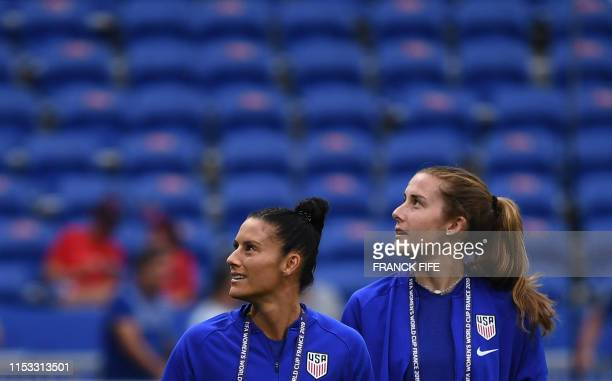 United States' defender Ali Krieger and United States' defender Tierna Davidson walk around the pitch prior to the France 2019 Women's World Cup...