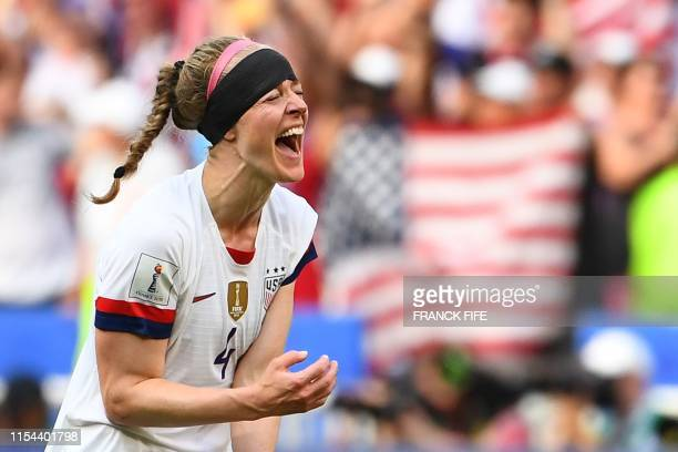 United States' defender Becky Sauerbrunn celebrates during the France 2019 Womens World Cup football final match between USA and the Netherlands, on...