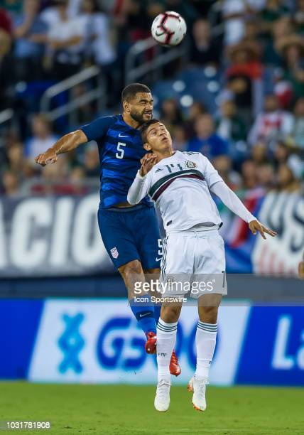 United States defender Cameron CarterVickers heads a ball over Mexico forward Angel Zaldivar during a match between the United States and Mexico on...