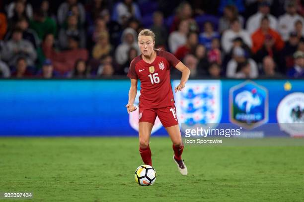 United States defender Emily Sonnett dribbles the ball during the SheBelieves Cup match between USA and England on March 07 at Orlando City Stadium...