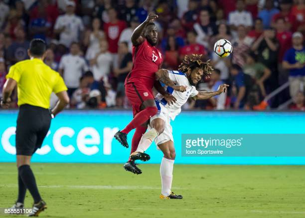 United States defender Jozy Altidore goes up for a header during the World Cup Qualifier soccer match between the USA Mens National Team and Panama...