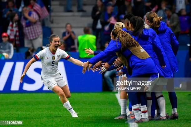 TOPSHOT United States' defender Kelley O'Hara celebrates after her team's second goal during the France 2019 Women's World Cup Group F football match...