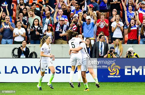 United States Defender Kelley O'hara hugs United States Midfielder Lindsey Horan after Horan's second half goal during the Women's Olympic qualifying...