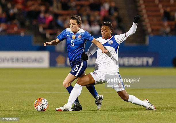 United States Defender Kelley O'Hara is fouled by Puerto Rico forward Ashley Johnson during the Women's Olympic Soccer Qualifying group stage match...