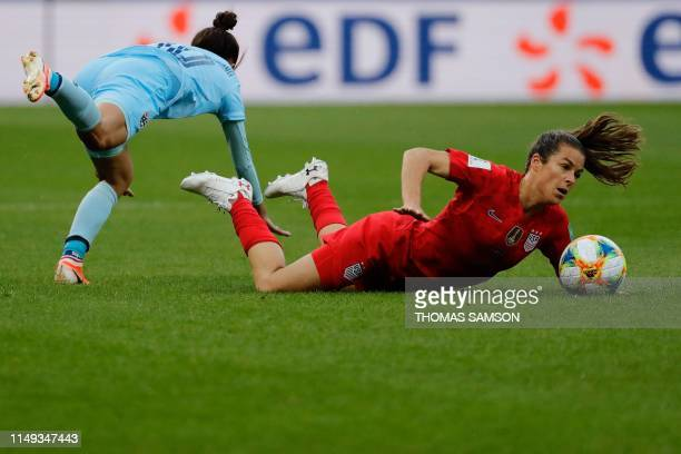 United States' defender Kelley O'Hara vies for the ball with Thailand's defender Sunisa Srangthaisong during the France 2019 Women's World Cup Group...