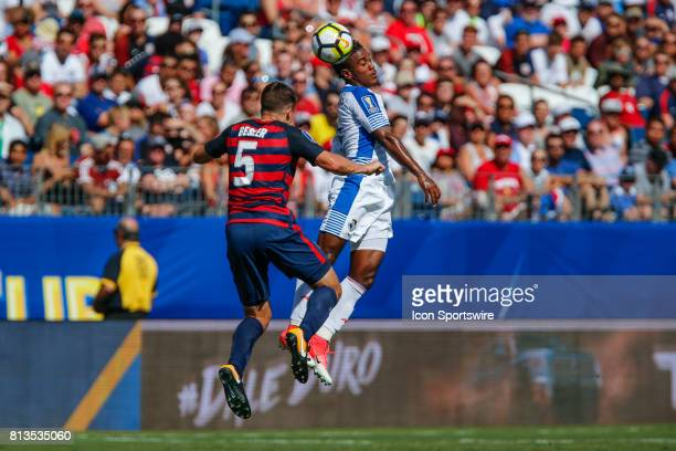United States defender Matt Besler battleds Panama midfielder Miguel Camargo during CONCACAF Gold Cup Opening Match between the United State and...