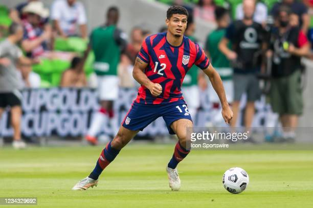 United States defender Miles Robinson looks for a teammate to pass the ball to during the Gold Cup semifinal match between the United States and...