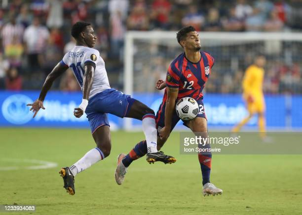 United States defender Miles Robinson takes the ball to his midsection in the first half of a Concacaf Gold Cup match between Haiti and the USA on...