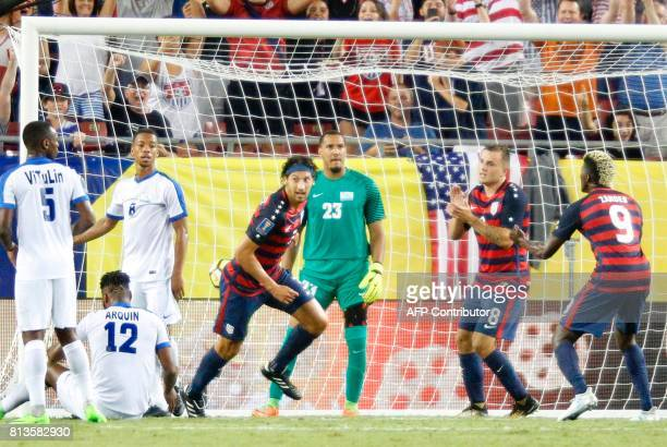 United States defender Omar Gonzalez reacts after scoring a goal against Martinique in the second half of their Group B Gold Cup soccer game on July...