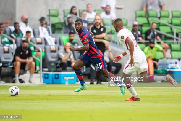 United States defender Shaq Moore chases down the ball during the Gold Cup semifinal match between the United States and Qatar on Thursday July 29th,...