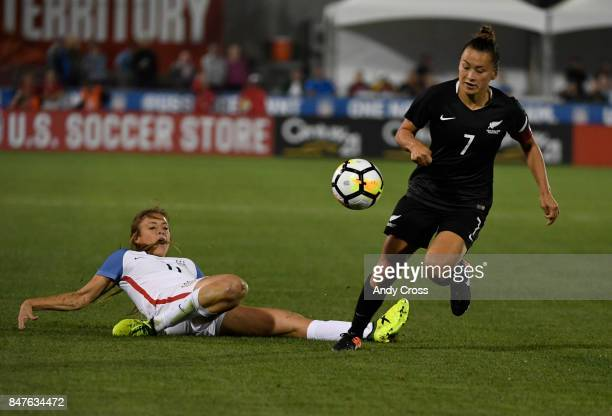 United States defender Sofia Huerta and New Zealand defender Ali Riley chase down the ball in the second half at Dick's Sporting Goods Park September...