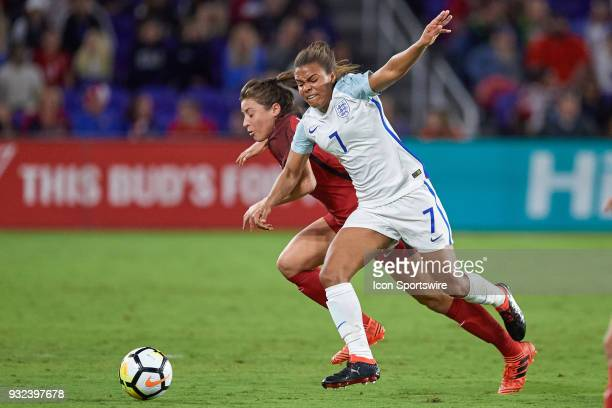 United States defender Sofia Huerta battles with England forward Nikita Parris for a loose ball during the SheBelieves Cup match between USA and...