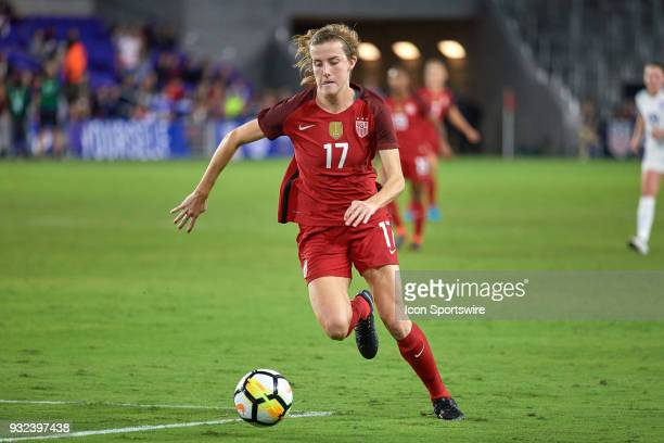 United States defender Tierna Davidson dribbles the ball during the SheBelieves Cup match between USA and England on March 07 at Orlando City Stadium...