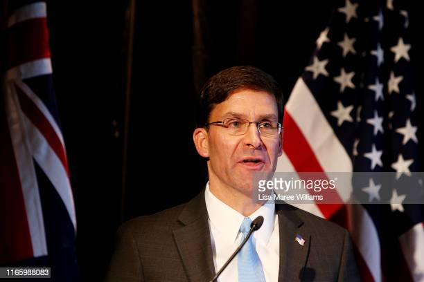 United States Defense Secretary Mark Esper speaks during a press conference at Parliament of New South Wales on August 04 2019 in Sydney Australia...
