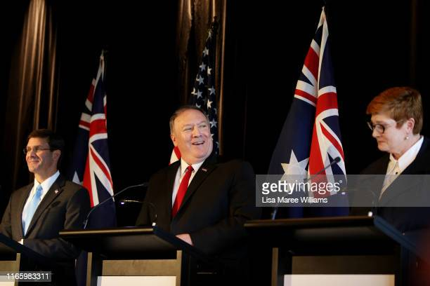 United States Defense Secretary, Mark Esper, United States Secretary of State, Mike Pompeo and Australian Foreign Minister, Marise Payne speak during...