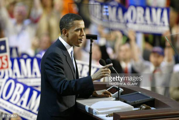 Democratic National Convention keynote speaker Barack Obama US Senate candidate for Illinois speaks 27 July in Boston Massachusetts The US Democratic...