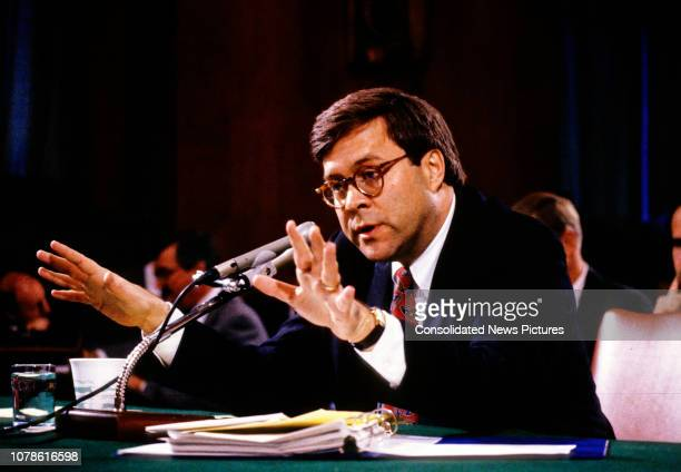 United States Deputy Attorney General William P Barr testifies before the US Senate Committee on the Judiciary during his confirmation hearing on...